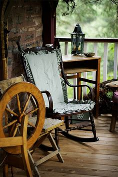 spinning wheel on porch! love it! can watch gardens growing and kids playing while you spin