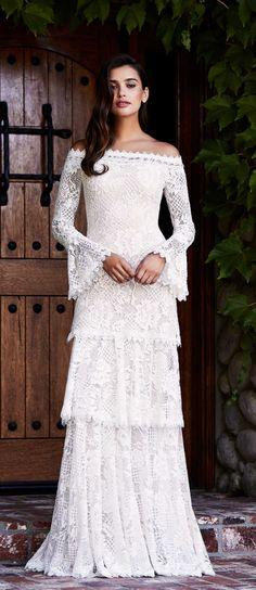 Courtesy of Tadashi Shoji wedding dresses; www.tadashishoji.com #laceweddingdresses