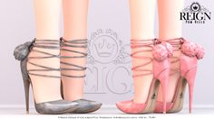 https://flic.kr/p/Qr49gp | REIGN.- POM HEELS | Available at N21 Opening 12PM SLT. These heels come with 20 color options via the Hud. Sizes included for- TMP Ouch, Maitreya, Slink, and Belleza High Feet. -Balls on back have Fuzzy aspect that can not be seen in the picture, please try a demo- Get them at N21 Once it opens!!