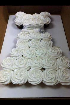 DIY Cupcake Wedding Dress Cake - Do-It-Yourself Fun Ideas Bridal shower idea – Dress shaped Cupcakes Wedding Dress Cupcakes, Bridal Shower Cupcakes, Cupcake Wedding, Diy Cupcake, Cupcake Display, Baptism Cupcakes, Rose Cupcake, Baptism Party, Cupcake Dress Cake