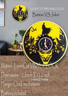 Batman VS Joker Vinyl Wall Clock #bobmarley #reggae #onelove #positive #gifta #TimeCraft E Craft, Batman Vs, White Paints, Reggae, Laser Cutting, Clocks, First Love, Joker, Creative