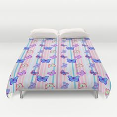 Butterflies on Stripes, Pink Purple Aqua Cream Stripes, Colorful Butterflies Flying, Duvet Cover, Society6