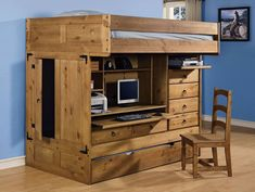 Rustic Loft Bed with Desk and Storage Ideas : How to Build a Loft ...