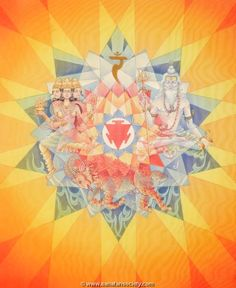 The petals of the chakras represent the unfoldment of primal sound through the fifty letters of the Sanskrit alphabet. The ten petals of the Manipura represent ten syllables of Sanskrit; Da, Dha, Na; Ta, Tha, Da, Dha, Na; Pa and Pha.  There are Hindu solar crosses (called svastikas) in the center of this chakra, that connect this chakra to the fiery qualities of the sun. They represent the divine movement of light in action that emanates from the center of this chakra center.