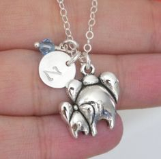Elephant Charm Necklace, Elephant Necklace, Elephant Baby Necklace, Gifts for New Moms, New Mothers Gifts, Mother Baby Necklace, Mommy Baby