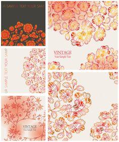 Vintage floral backgrounds vector   Vector Design Art