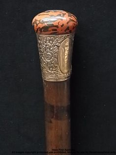 Antique Victorian Floral 14k Gold Painted Wood Cane Initialed HBL Walking Stick |