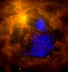 A million-degree plasma cloud in the Orion Nebula. The emission colored in blue shows X-ray emission from a hot plasma cloud in the extended regions of the Orion Nebula, detected by the XMM-Newton satellite. The background image has been recorded by the Spitzer Space Telescope in the infrared, showing emission from cool dust.