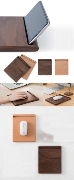 Natural Black Walnut Wooden Mouse Pad iPhone Cell Phone Charging Station Dock Mo… – Pin's Page Diy Phone Stand, Laptop Stand, Support Telephone, Wooden Organizer, Iphone Holder, Small Wood Projects, Dremel, Wood Design, Planer