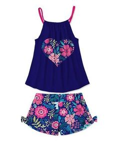 Loving this Navy & Pink Heart Floral Tank & Bow Shorts - Toddler & Girls on Baby Kids Clothes, Toddler Girl Outfits, Toddler Fashion, Toddler Dress, Baby Dress, Kids Outfits, Kids Fashion, Fashion Outfits, Toddler Girls