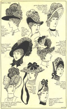 """1880-1890, Chapter 17, plate 5/7: """"The Mode in Hats & Headdresses"""" by R Turner Wilcox 