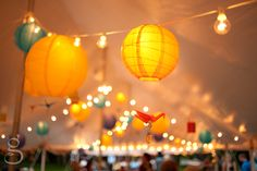 Perfect mix of string lights and Chinese paper lanterns. Shop variety of colors, lengths and sizes online at www.partylights.com.