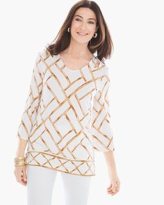 """Add earthy elegance to your wardrobe in a cold-shoulder, bamboo-print top.    3/4-sleeves.   Length: 27"""".   Rayon, spandex.     Machine wash. Imported."""