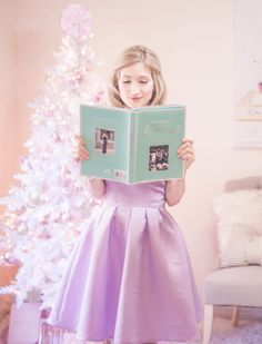 off the shoulder dress, white christmas tree, pastel christmas, pastel christmas decor, kate spade glitter heels, slmissglam makeup brushes, hair bow, pink ornaments, breakfast at tiffanys