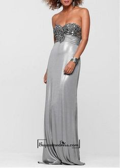 Attractive Stretch Satin Sheath Strapless Sweetheart Beaded Bust Empire Waist Full Length Prom Dress - Attractive Stretch Satin Sheath Strapless Sweetheart Beaded Bust Empire Waist Full Length Prom DressFabric: Stretch SatinDetails :You'll look fabulously poured-in to this exquisite gown .Featuring a strapless sweetheart neckline, a bust embellished with beads, a wide ruched waistband and a mtallic skirt, this gown is unbeatable for prom, homecoming, pageants,