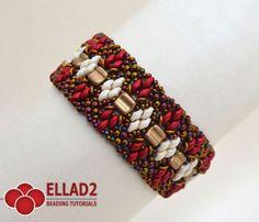 Miyuki seed beads 15/0, 11/0, 8/0 – Czech Osselets/Bone two-hole beads (or CzechMates) – SuperDuo beads 2.5x5mm – O-beads