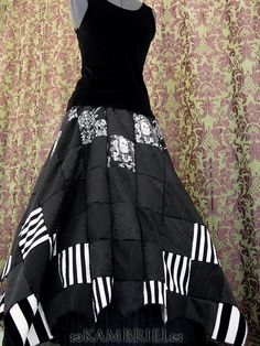 Black and white patchwork skirt