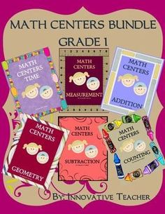 Math Centers Bundle - Grade 1 includes 30 center activities that will strengthen your student's understanding of time, measurement, addition, subtraction, geometry, and counting.