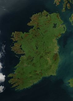 Ireland - Happy St. Patrick's Day    It is easy to see from this true-color image why Ireland is called the Emerald Isle. Intense green vegetation, primarily grassland, covers most of the country except for the exposed rock on mountaintops. Ireland owes its greenness to moderate temperatures and moist air. The Atlantic Ocean, particularly the warm currents in the North Atlantic Drift, gives the country a more temperate climate than most others at the same latitude. Credit: NASA
