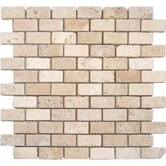 MS International Chiaro Brick 12 in. x 12 in. x 10 mm Tumbled Travertine Mesh-Mounted Mosaic Tile at The Home Depot - Mobile Mosaic Tiles, Wall Tiles, Mosaics, Travertine Floors, Travertine Tile Backsplash, Thing 1, Old World Charm, Indoor Air Quality, Kitchen Backsplash