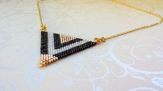 Big Triangle Miyuki Delica beads necklace. handmade, gold, metallic black and pearl white