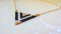 Big Triangle Miyuki Delica beads necklace. handmade, gold, metallic black and pearl white