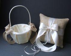 Burlap flower girl basket and ring bearer pillow!