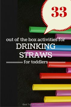 Easy activities with drinking straws for toddlers and preschoolers including math, art, fine motor skills. Toddler Play, Toddler Learning, Preschool Learning, Toddler Preschool, Early Learning, Fun Learning, Teaching Art, Straw Activities, Preschool Activities