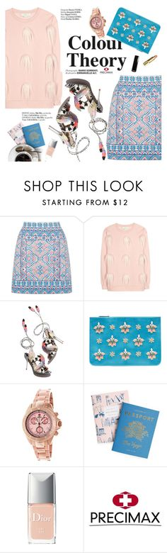 """Color theory"" by punnky ❤ liked on Polyvore featuring Oasis, STELLA McCARTNEY, Sophia Webster, Emilio Pucci, Haute Hippie, Christian Dior, Swiss Precimax, under50 and skirtunder50"
