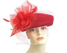 Womens Church Hat, Derby hat, Wool/Feathers/RS, Red 1604