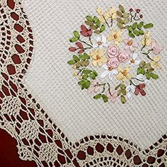 Handmade Crochet Cotton Lace Table Runner And Dresser Scarf, Ribbon Embroidery, Rectangle18x54 Inches