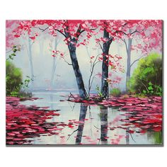 MISTY PINK PAINTING trees river,100% Hand-painted Hi-Q Landscape Modern Oil Painting on Canvas Art Decoration Gift Huge