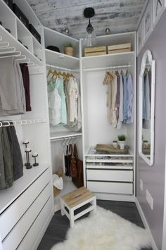 Closet Makeover Reveal A beautiful dream closet makeover! I LOVE the organization ideas. Such a great use of a small space.A beautiful dream closet makeover! I LOVE the organization ideas. Such a great use of a small space. Small Dressing Rooms, Dressing Room Decor, Dressing Room Design, Bedroom Into Dressing Room, Small Closet Space, Small Closets, Small Spaces, Small Rooms, Walk In Closet Design