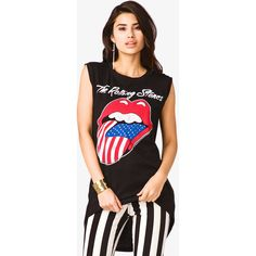 FOREVER 21 The Rolling Stones© Muscle Tee ($18) ❤ liked on Polyvore
