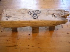Driftwood Stool with Irish Celtic Knot design, pyrography Celtic knot , handmade driftwood stool, made in Ireland via Etsy