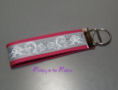 Gray and White Damask Key Fob Key Chain Key by MonkeyintheMailbox