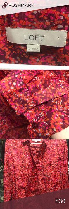 Ann Taylor Loft Pink Chiffon Blouse Beautiful variegated pink chiffon blouse. Maroons, pinks, purples dot this beautiful chiffon blouse.  Perfect for your Spring or Fall wardrobe! LOFT Tops Blouses