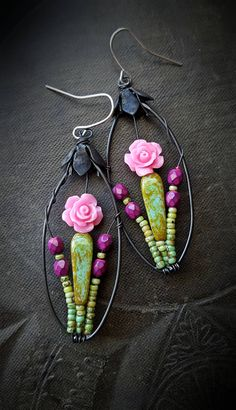 Blossom Series, Flowers, Roses, Rose Garden, Wire Wrapped, Hoops, Artisan Made, Summer, Glass, Organic, Rustic,Unique, Beaded Earrings by YuccaBloom on Etsy