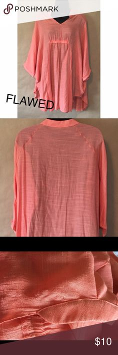 FLAWED Breezy Poncho Top in Coral A must have for beach trips are legging days! Wearable in multiple seasons and a truly versatile piece. This piece has two small snag holes at the shoulder, as pictured. Not noticeable, but not up to my boutique standards. Reduced price. •100% polyester •Made in USA. All of my boutique clothing is made in America   •No tags because it comes straight from the manufacturer •No returns, no trades •10% discount on 3+ items Boutique Tops