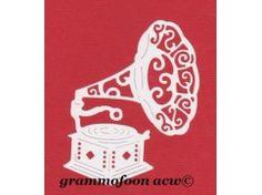 4) stansjes oplegkaartje 3x GRAMMOFOON