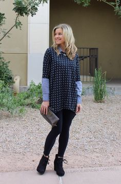 I love adding a collared shirt under the LuLaRoe Irma tunic to create a new look! Perfect for cooler weather. #chambray #lularoe Click for more style inspiration and to shop LuLaRoe!