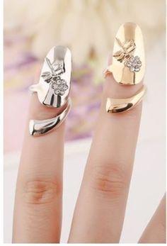 Golden or Silver Metal Dragonfly Rhinestone Flower Women Fingernail Rings . Starting at $3