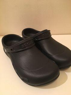 defdcb79e527f1 Crocs Bistro Mens 11 Womens 12 Black Non Mark Oil Slip Resistant Work Chef  Clogs
