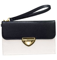 "Avon: FOREVER selected by Paula Abdul Mod Deco Clutch $25. Faux croc and patent-leatherlike organizer. Stylish colored interior. Wide organizing pockets & compartments. Goldtone buckle. Detachable wristlet strap. Interior zip pocket, bill compartment and six credit card slots. 7 1/2"" W x 5"" H. (closed)."