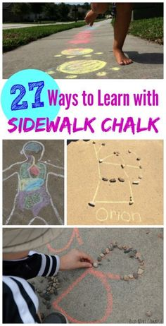 Sidewalk Chalk learning games and activities for summer — fun ideas for science, art & keeping kids moving! Sidewalk Chalk learning games and activities for summer — fun ideas for science, art & keeping kids moving! Outdoor Activities For Kids, Outdoor Learning, Toddler Activities, Kids Learning, Bubble Activities, Movement Activities, Montessori, Activity Games, Fun Games
