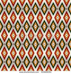 Seamless pattern in Christmas traditional colors. Ethnic and tribal motif. Repeated rhombuses bright ornamental abstract background. Digital paper, textile print, page fill. Vector illustration