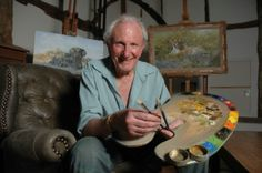 David Shepherd in his studio. (English painter and conservationist of steam… Modern Artists, Art Party, Sign Printing, Limited Edition Prints, Artist At Work, David, Original Paintings, Wildlife, Portrait