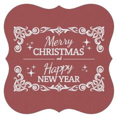 Red And White Merry Christmas And Happy New Year Paper Coaster - home gifts ideas decor special unique custom individual customized individualized
