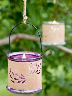 Hanging luminaries provide mood lighting past dusk. Use a crafts knife to cut designs in decorative paper, or use a punch. Tape the paper around votive candle lanterns, and hang with twine.