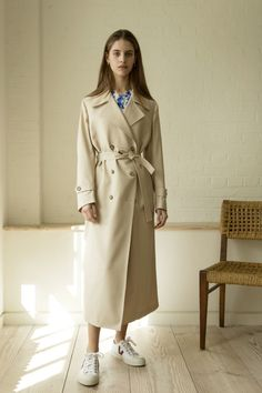 Giuliva Heritage Collection Christie Trench Wool Beige - Alex Eagle